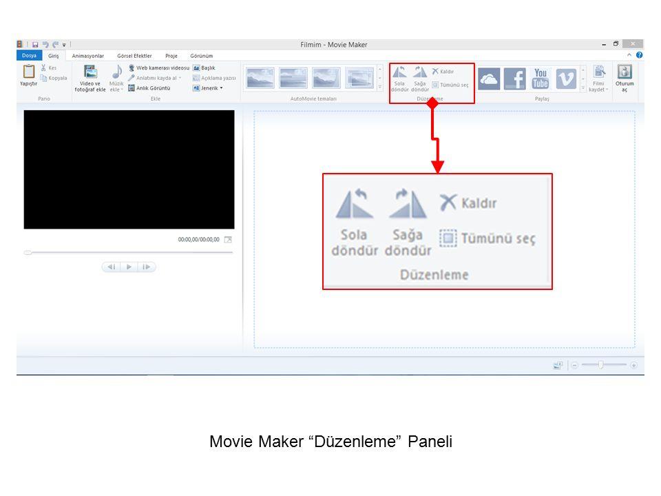 """Movie Maker """"Düzenleme"""" Paneli"""