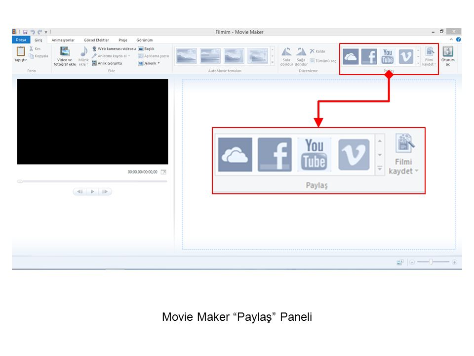 Movie Maker Paylaş Paneli