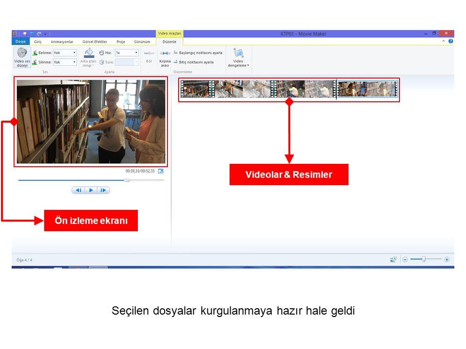 Seçilen dosyalar kurgulanmaya hazır hale geldi Ön izleme ekranı Videolar & Resimler