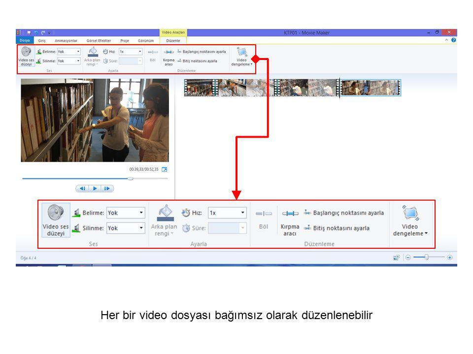 Her bir video dosyası bağımsız olarak düzenlenebilir