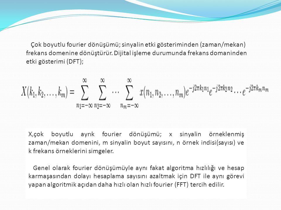 Çok boyutlu fourier dönüşümü; sinyalin etki gösteriminden (zaman/mekan) frekans domenine dönüştürür.