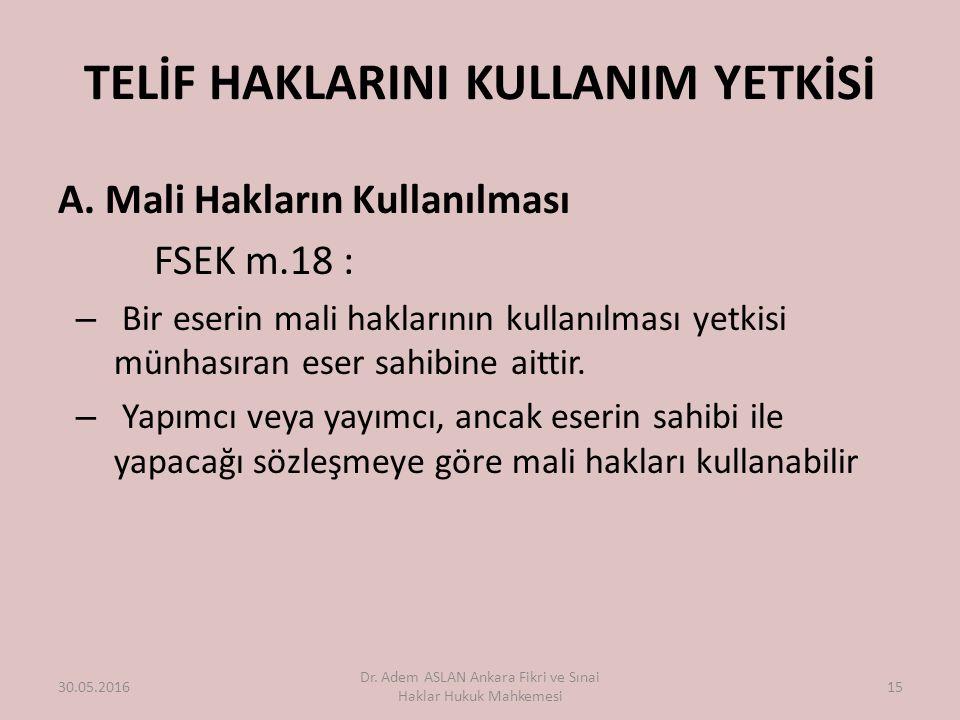 TELİF HAKLARINI KULLANIM YETKİSİ A.