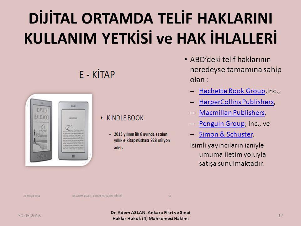 DİJİTAL ORTAMDA TELİF HAKLARINI KULLANIM YETKİSİ ve HAK İHLALLERİ 30.05.2016 Dr. Adem ASLAN, Ankara Fikri ve Sınai Haklar Hukuk (4) Mahkemesi Hâkimi 1