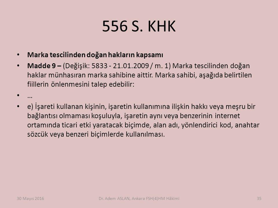 556 S. KHK Marka tescilinden doğan hakların kapsamı Madde 9 – (Değişik: 5833 - 21.01.2009 / m. 1) Marka tescilinden doğan haklar münhasıran marka sahi