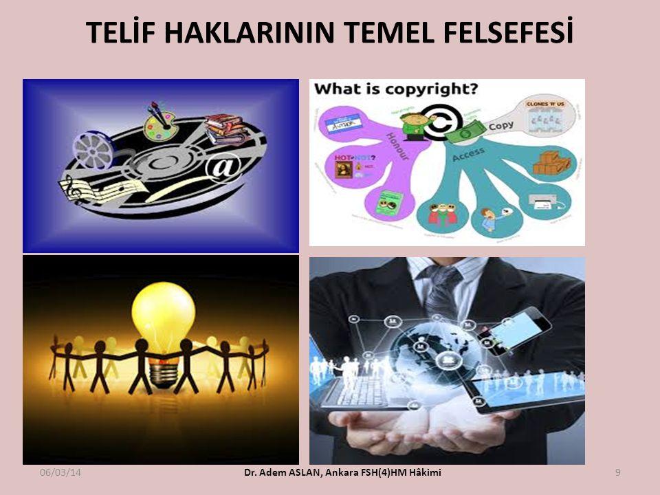 TELİF HAKLARININ TEMEL FELSEFESİ 06/03/14Dr. Adem ASLAN, Ankara FSH(4)HM Hâkimi9