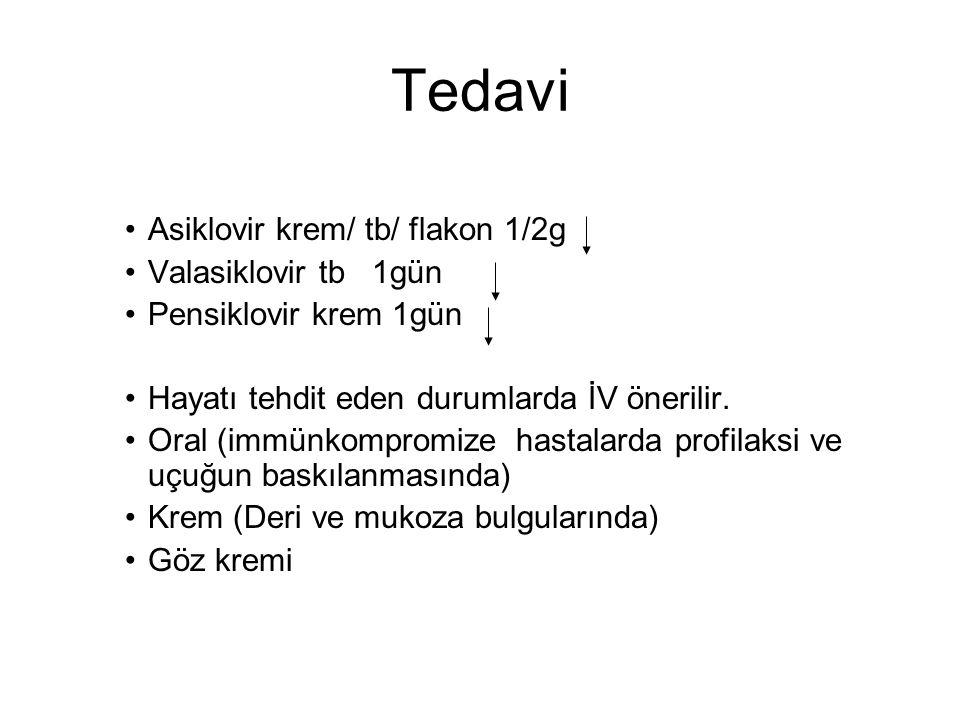 Tedavi Asiklovir krem/ tb/ flakon 1/2g Valasiklovir tb 1gün Pensiklovir krem 1gün Hayatı tehdit eden durumlarda İV önerilir. Oral (immünkompromize has