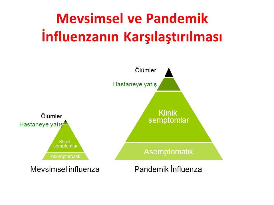 Mevsimsel ve Pandemik İnfluenzanın Karşılaştırılması Asemptomatik Klinik semptomlar Ölümler Hastaneye yatış Mevsimsel influenzaPandemik İnfluenza Asem