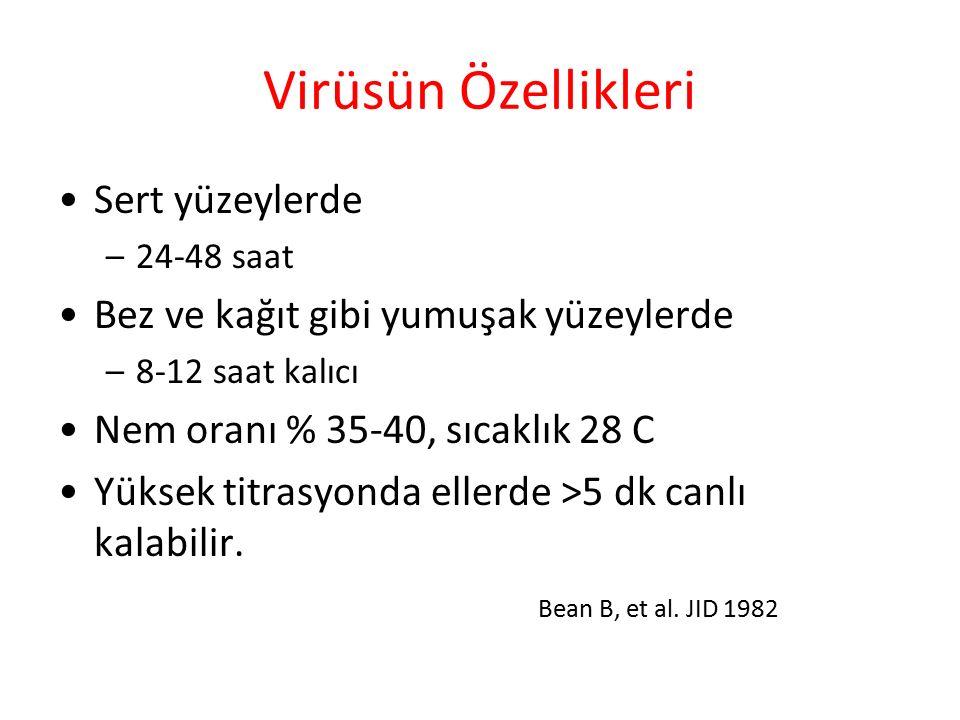 Virüsün Özellikleri Sert yüzeylerde –24-48 saat Bez ve kağıt gibi yumuşak yüzeylerde –8-12 saat kalıcı Nem oranı % 35-40, sıcaklık 28 C Yüksek titrasyonda ellerde >5 dk canlı kalabilir.