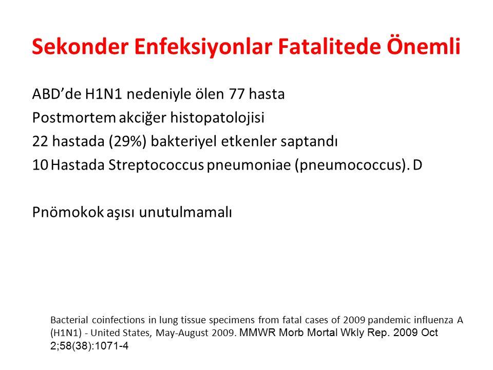 Sekonder Enfeksiyonlar Fatalitede Önemli ABD'de H1N1 nedeniyle ölen 77 hasta Postmortem akciğer histopatolojisi 22 hastada (29%) bakteriyel etkenler saptandı 10Hastada Streptococcus pneumoniae (pneumococcus).