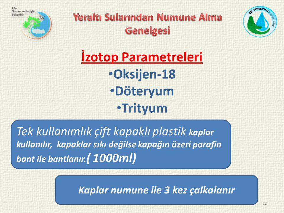 20 İzotop Parametreleri Oksijen-18 Döteryum Trityum Tek kullanımlık çift kapaklı plastik kaplar kullanılır, kapaklar sıkı değilse kapağın üzeri parafin bant ile bantlanır.