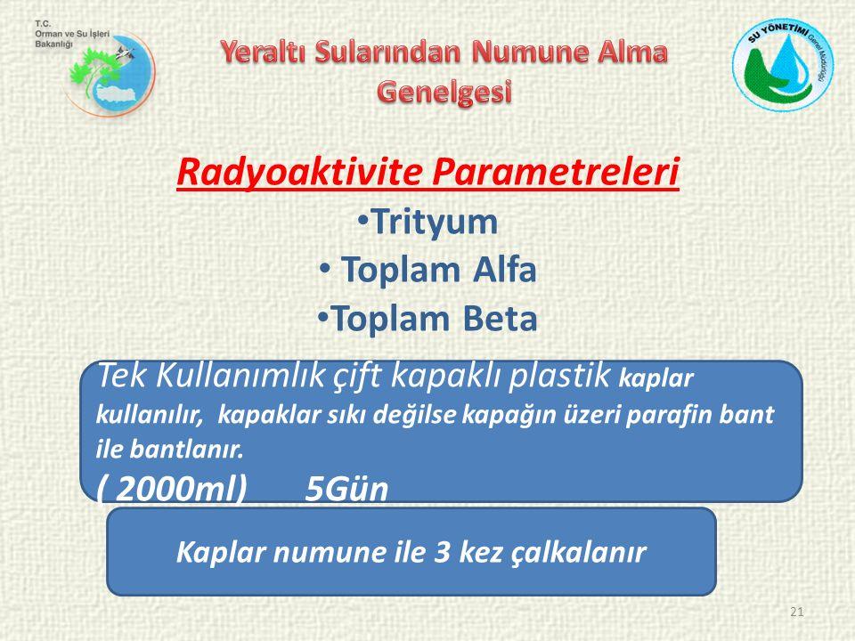 21 Radyoaktivite Parametreleri Trityum Toplam Alfa Toplam Beta Tek Kullanımlık çift kapaklı plastik kaplar kullanılır, kapaklar sıkı değilse kapağın üzeri parafin bant ile bantlanır.