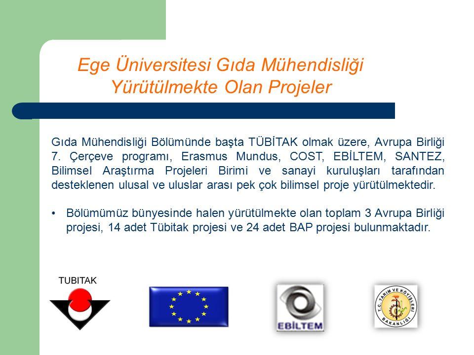 Ege Üniversitesi Gıda Mühendisliği Yürütülmekte Olan Projeler Gıda Mühendisliği Bölümünde başta TÜBİTAK olmak üzere, Avrupa Birliği 7.
