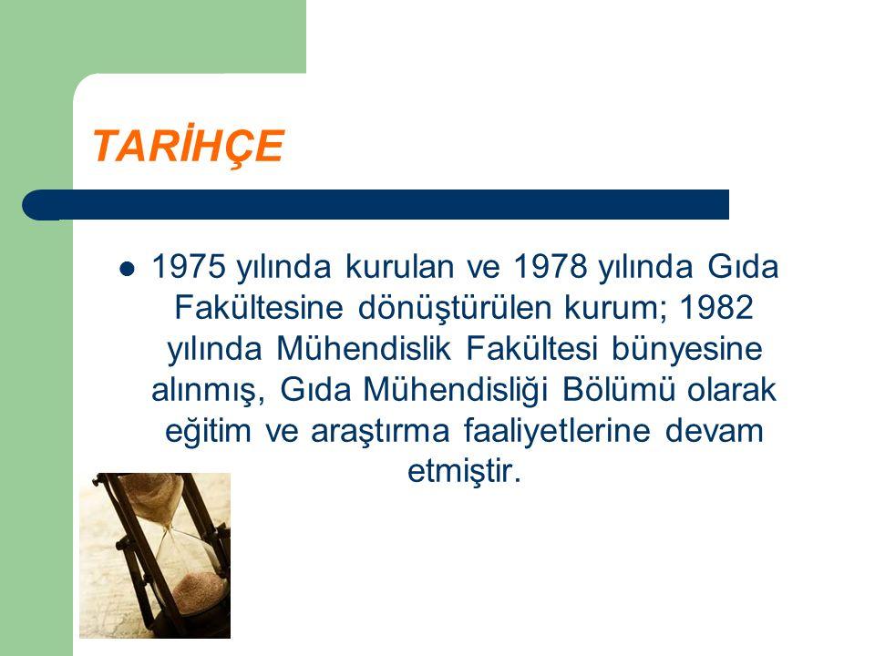 TARİHÇE 1975 yılında kurulan ve 1978 yılında Gıda Fakültesine dönüştürülen kurum; 1982 yılında Mühendislik Fakültesi bünyesine alınmış, Gıda Mühendisliği Bölümü olarak eğitim ve araştırma faaliyetlerine devam etmiştir.