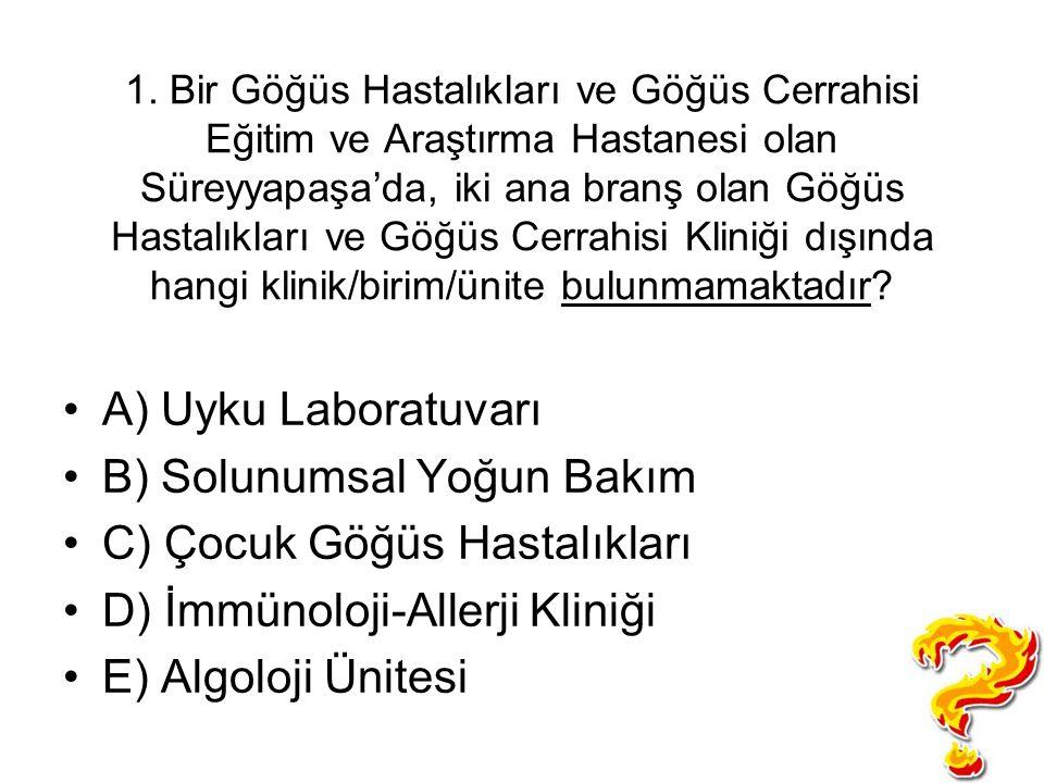 1. Bir Göğüs Hastalıkları ve Göğüs Cerrahisi Eğitim ve Araştırma Hastanesi olan Süreyyapaşa'da, iki ana branş olan Göğüs Hastalıkları ve Göğüs Cerrahi