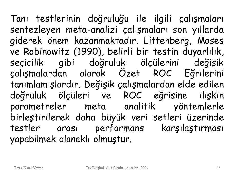 Tıpta Karar VermeTıp Bilişimi Güz Okulu - Antalya, 200312 Tanı testlerinin doğruluğu ile ilgili çalışmaları sentezleyen meta-analizi çalışmaları son yıllarda giderek önem kazanmaktadır.