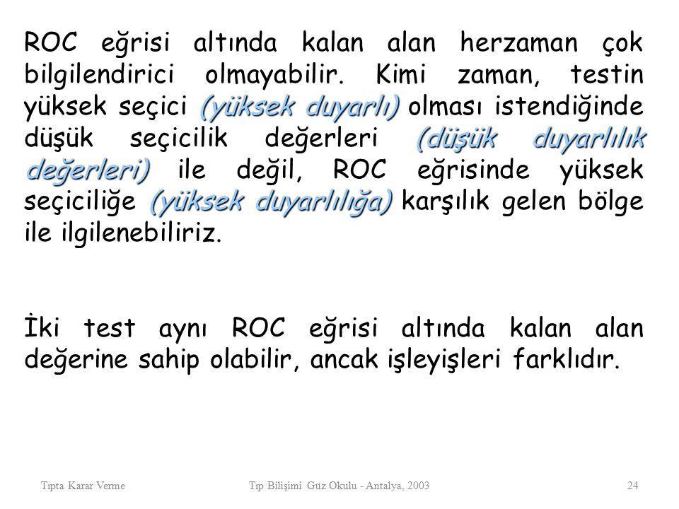Tıpta Karar VermeTıp Bilişimi Güz Okulu - Antalya, 200324 (yüksek duyarlı) (düşük duyarlılık değerleri) (yüksek duyarlılığa) ROC eğrisi altında kalan alan herzaman çok bilgilendirici olmayabilir.