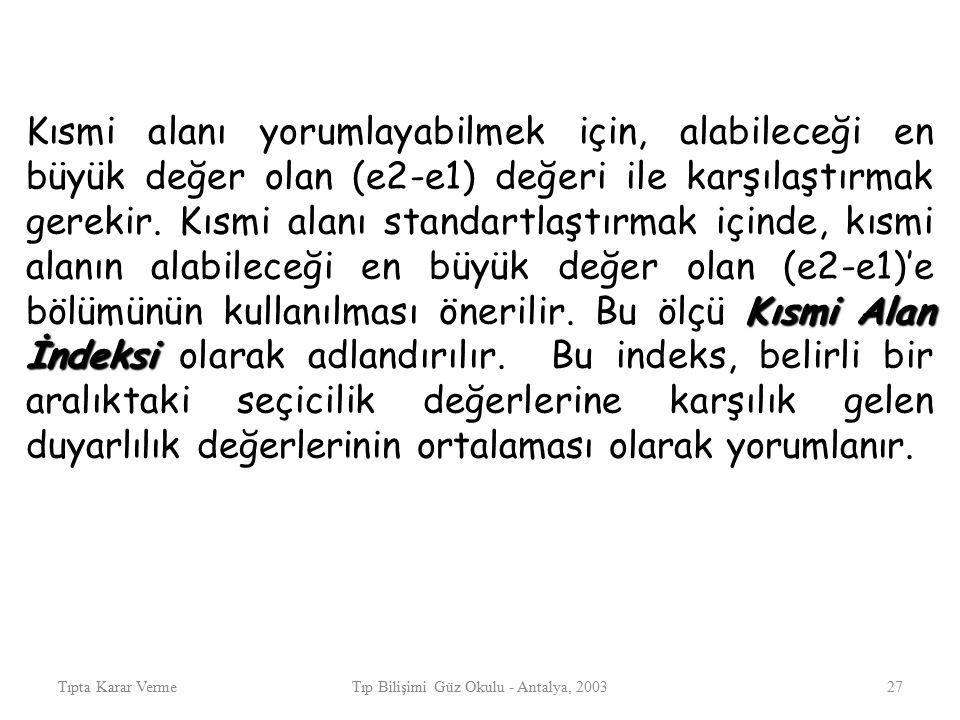 Tıpta Karar VermeTıp Bilişimi Güz Okulu - Antalya, 200327 Kısmi Alan İndeksi Kısmi alanı yorumlayabilmek için, alabileceği en büyük değer olan (e2-e1)