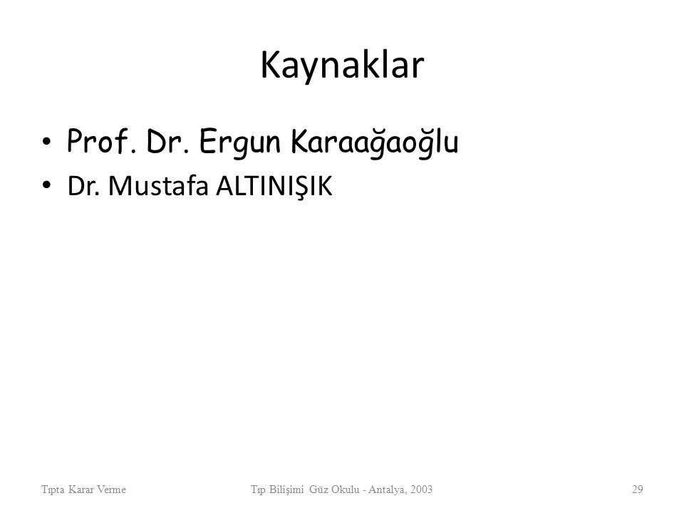 Kaynaklar Prof. Dr. Ergun Karaağaoğlu Dr. Mustafa ALTINIŞIK Tıpta Karar VermeTıp Bilişimi Güz Okulu - Antalya, 200329