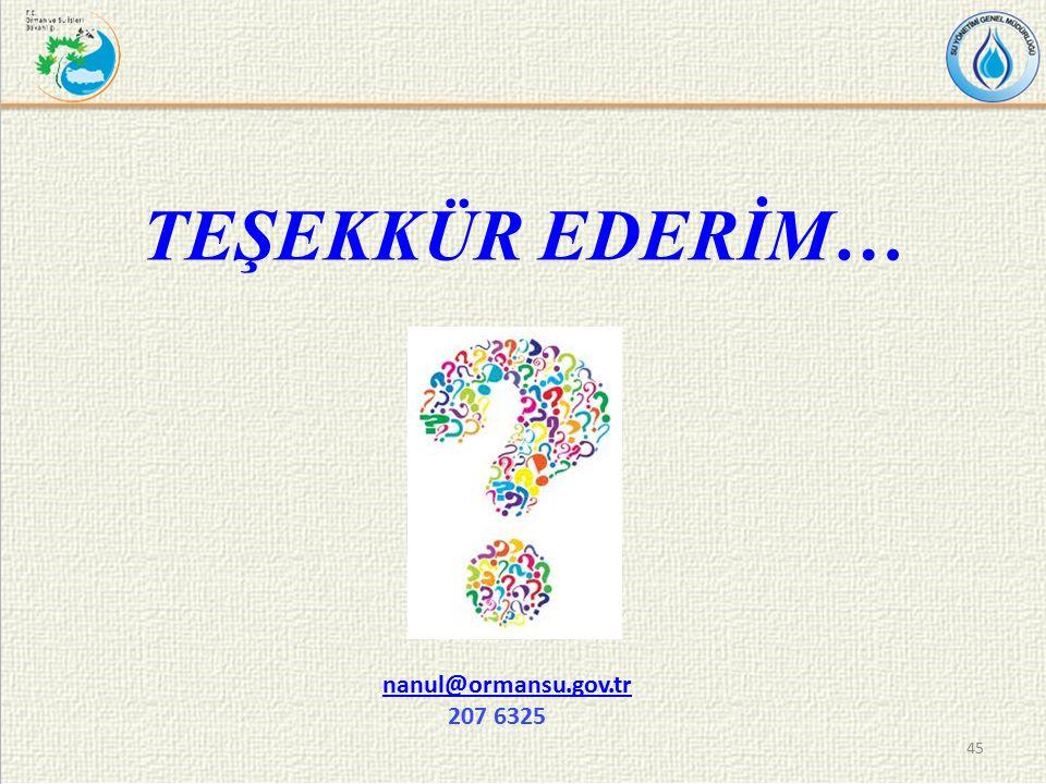 TEŞEKKÜR EDERİM… 45 nanul@ormansu.gov.tr nanul@ormansu.gov.tr 207 6325