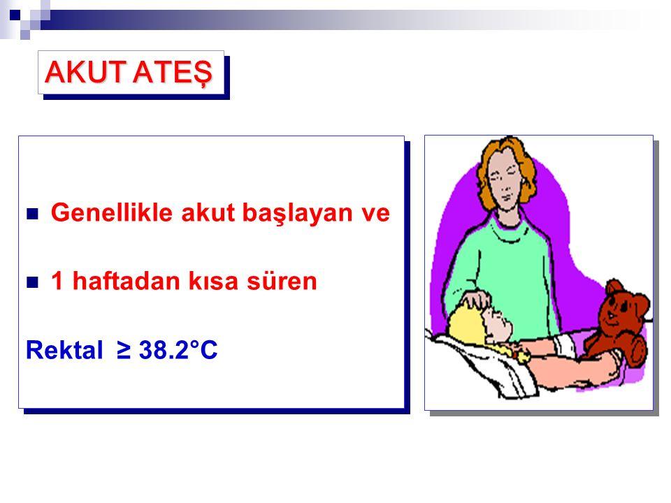 Genellikle akut başlayan ve 1 haftadan kısa süren Rektal ≥ 38.2°C Genellikle akut başlayan ve 1 haftadan kısa süren Rektal ≥ 38.2°C AKUT ATEŞ