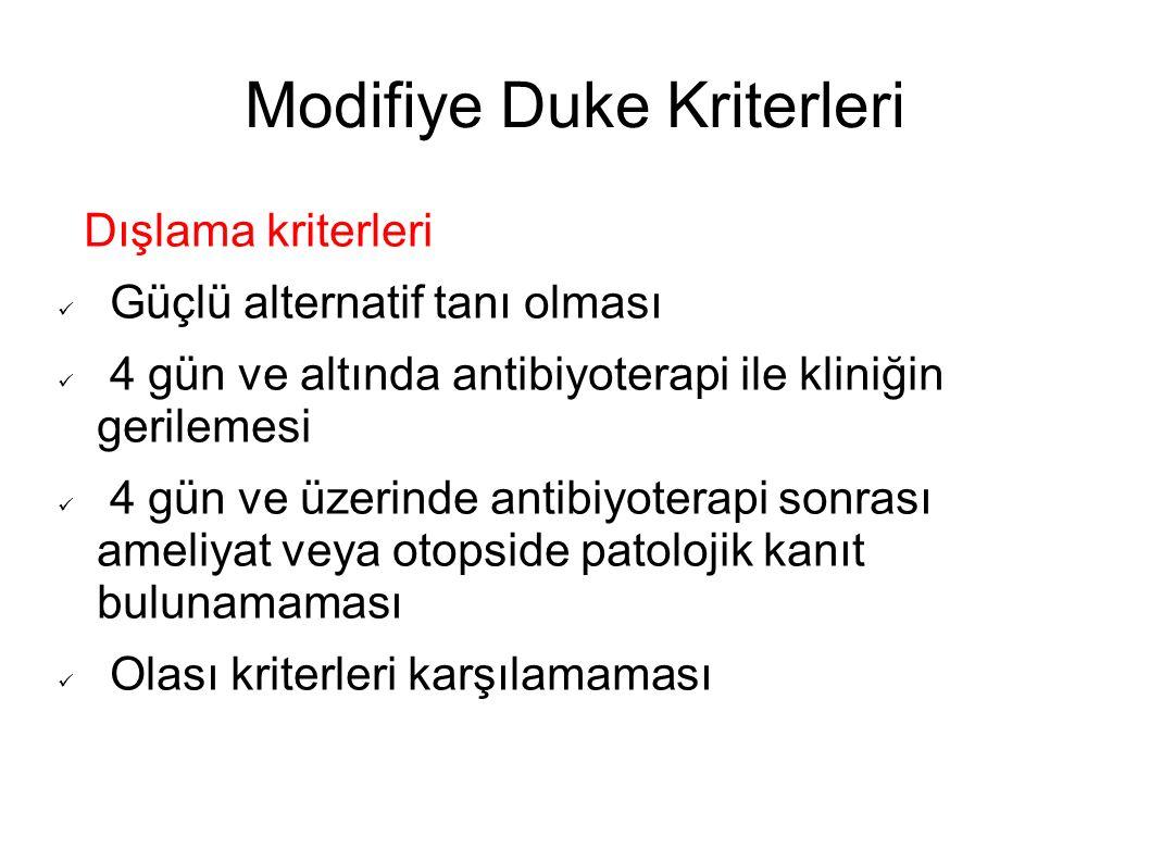 Modifiye Duke Kriterleri Dışlama kriterleri Güçlü alternatif tanı olması 4 gün ve altında antibiyoterapi ile kliniğin gerilemesi 4 gün ve üzerinde ant