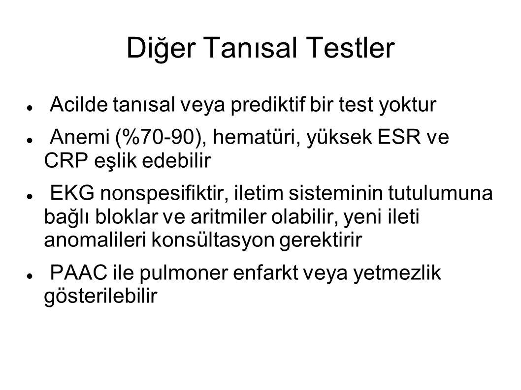 Diğer Tanısal Testler Acilde tanısal veya prediktif bir test yoktur Anemi (%70-90), hematüri, yüksek ESR ve CRP eşlik edebilir EKG nonspesifiktir, ile