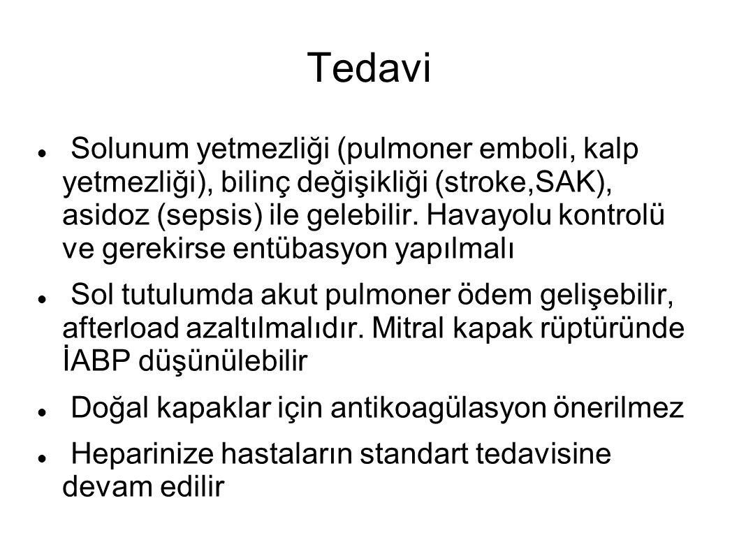Tedavi Solunum yetmezliği (pulmoner emboli, kalp yetmezliği), bilinç değişikliği (stroke,SAK), asidoz (sepsis) ile gelebilir.