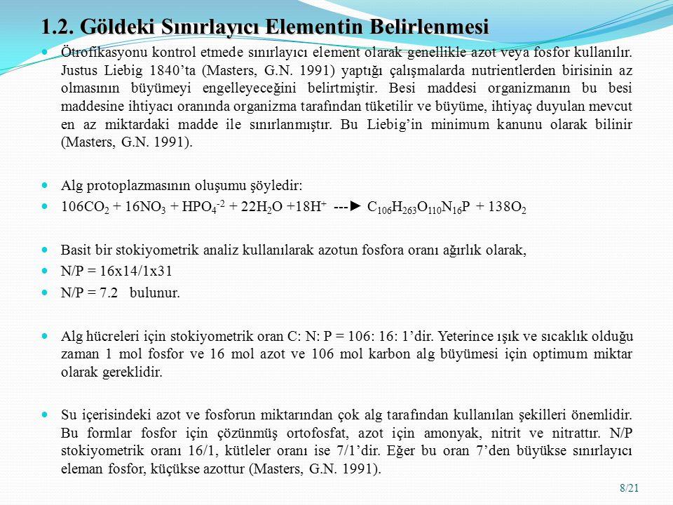 1.2. Göldeki Sınırlayıcı Elementin Belirlenmesi Ötrofikasyonu kontrol etmede sınırlayıcı element olarak genellikle azot veya fosfor kullanılır. Justus