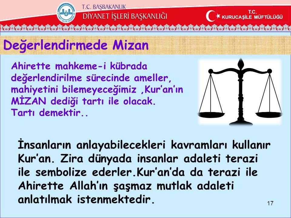 Değerlendirmede Mizan 17 Ahirette mahkeme-i kübrada değerlendirilme sürecinde ameller, mahiyetini bilemeyeceğimiz,Kur'an'ın MİZAN dediği tartı ile olacak.