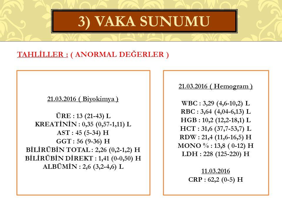 TAHLİLLER : ( ANORMAL DEĞERLER ) 3) VAKA SUNUMU 21.03.2016 ( Hemogram ) WBC : 3,29 (4,6-10,2) L RBC : 3,64 (4,04-6,13) L HGB : 10,2 (12,2-18,1) L HCT : 31,6 (37,7-53,7) L RDW : 21,4 (11,6-16,5) H MONO % : 13,8 ( 0-12) H LDH : 228 (125-220) H 11.03.2016 CRP : 62,2 (0-5) H 21.03.2016 ( Biyokimya ) ÜRE : 13 (21-43) L KREATİNİN : 0,35 (0,57-1,11) L AST : 45 (5-34) H GGT : 56 (9-36) H BİLİRÜBİN TOTAL : 2,26 (0,2-1,2) H BİLİRÜBİN DİREKT : 1,41 (0-0,50) H ALBÜMİN : 2,6 (3,2-4,6) L