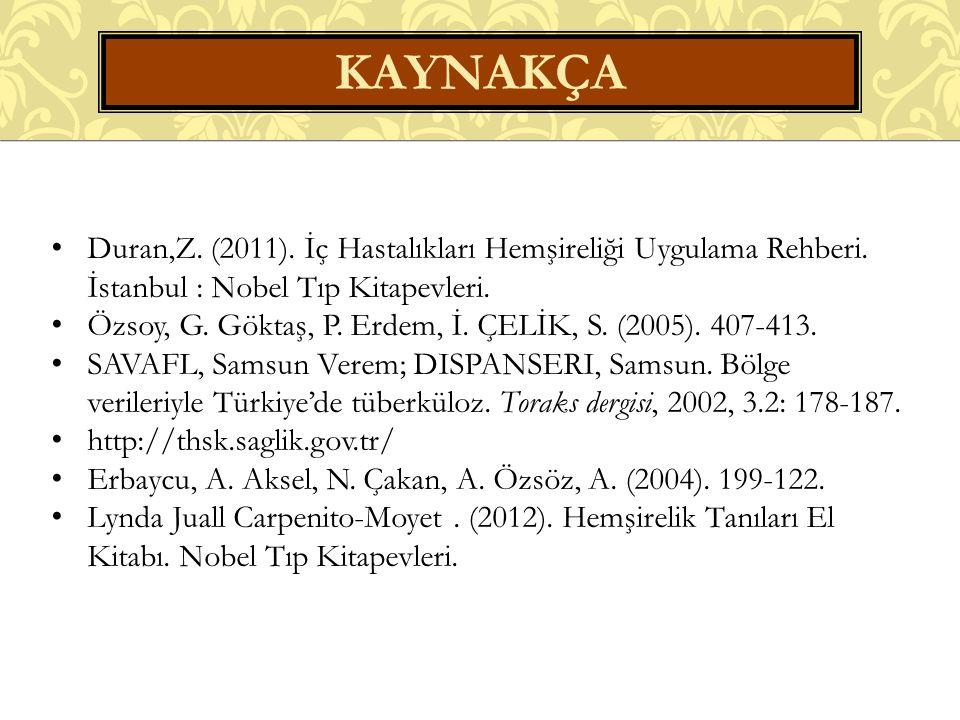 KAYNAKÇA Duran,Z. (2011). İç Hastalıkları Hemşireliği Uygulama Rehberi.