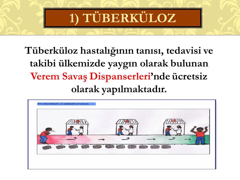 Tüberküloz hastalığının tanısı, tedavisi ve takibi ülkemizde yaygın olarak bulunan Verem Savaş Dispanserleri'nde ücretsiz olarak yapılmaktadır.