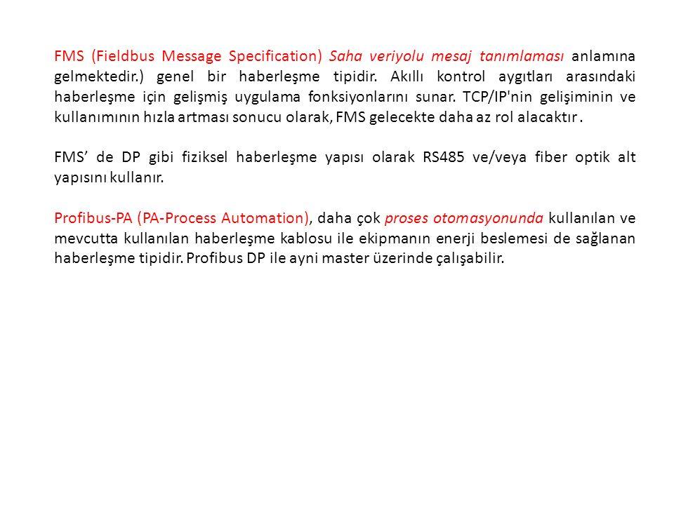FMS (Fieldbus Message Specification) Saha veriyolu mesaj tanımlaması anlamına gelmektedir.) genel bir haberleşme tipidir.