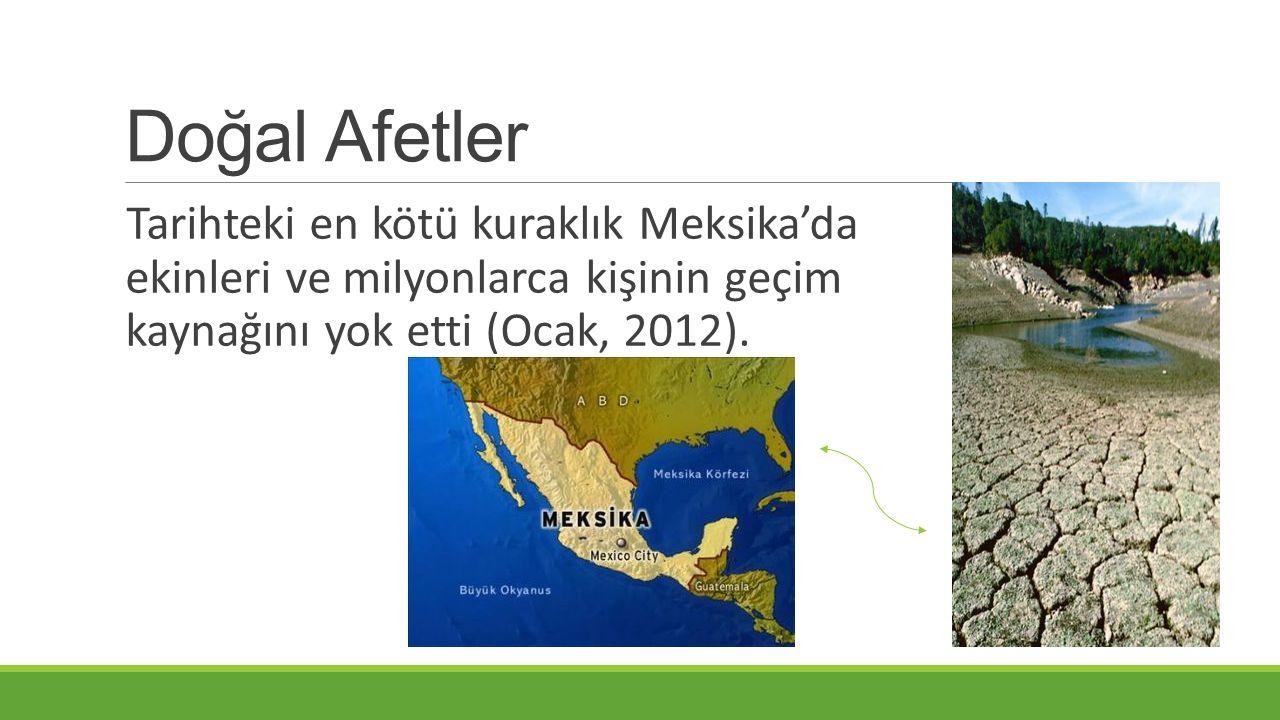 Doğal Afetler Tarihteki en kötü kuraklık Meksika'da ekinleri ve milyonlarca kişinin geçim kaynağını yok etti (Ocak, 2012).
