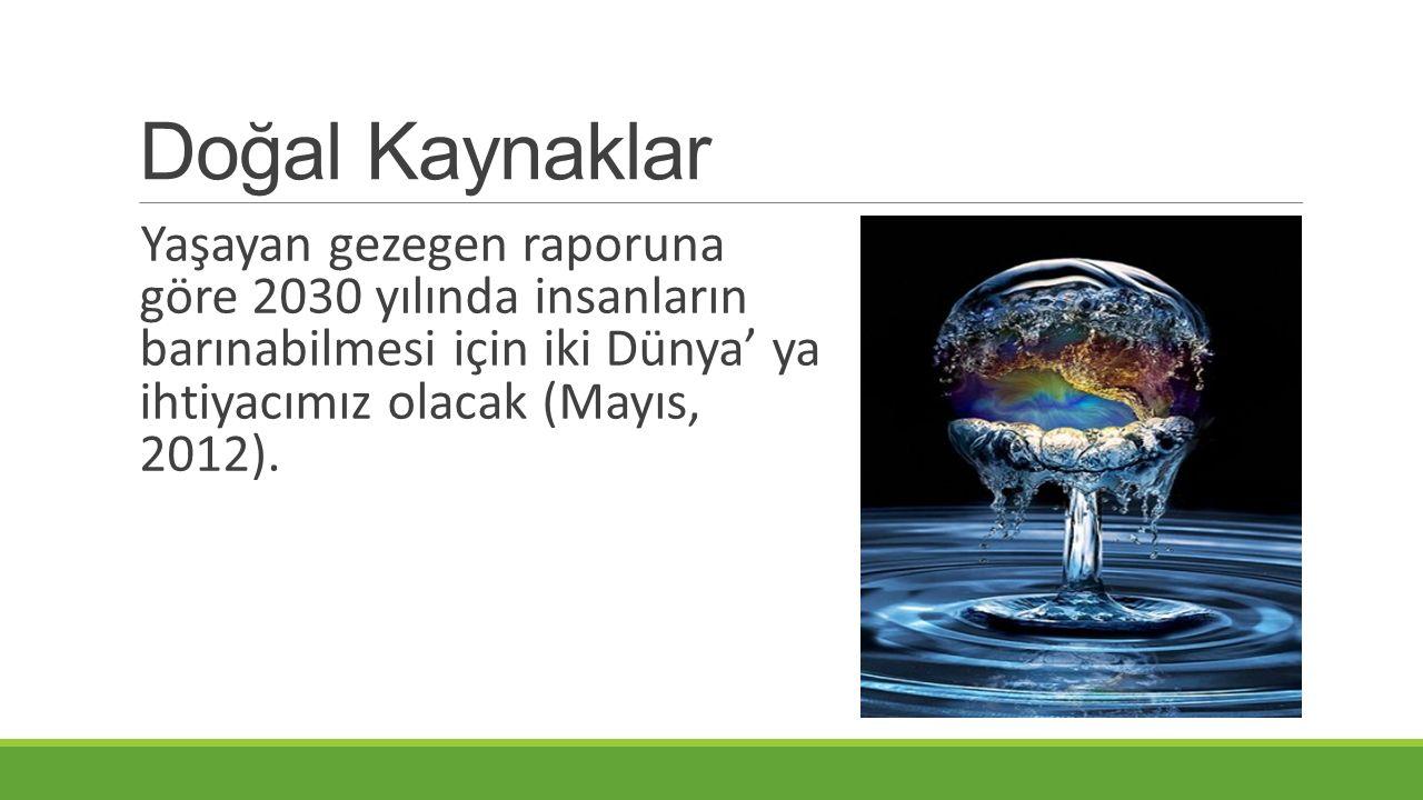 Doğal Kaynaklar Yaşayan gezegen raporuna göre 2030 yılında insanların barınabilmesi için iki Dünya' ya ihtiyacımız olacak (Mayıs, 2012).