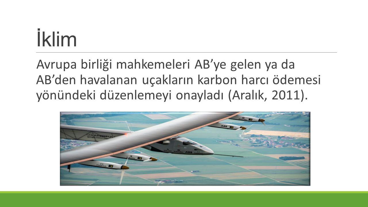 İklim Avrupa birliği mahkemeleri AB'ye gelen ya da AB'den havalanan uçakların karbon harcı ödemesi yönündeki düzenlemeyi onayladı (Aralık, 2011).