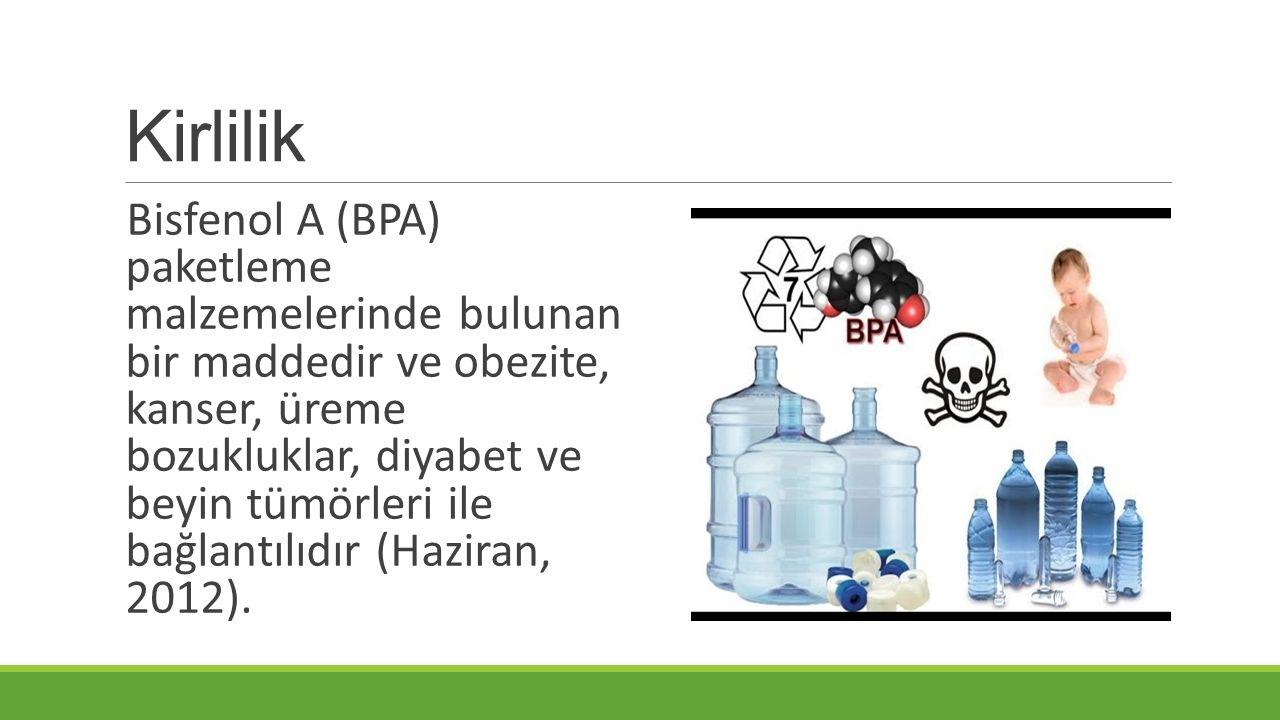 Kirlilik Bisfenol A (BPA) paketleme malzemelerinde bulunan bir maddedir ve obezite, kanser, üreme bozukluklar, diyabet ve beyin tümörleri ile bağlantılıdır (Haziran, 2012).