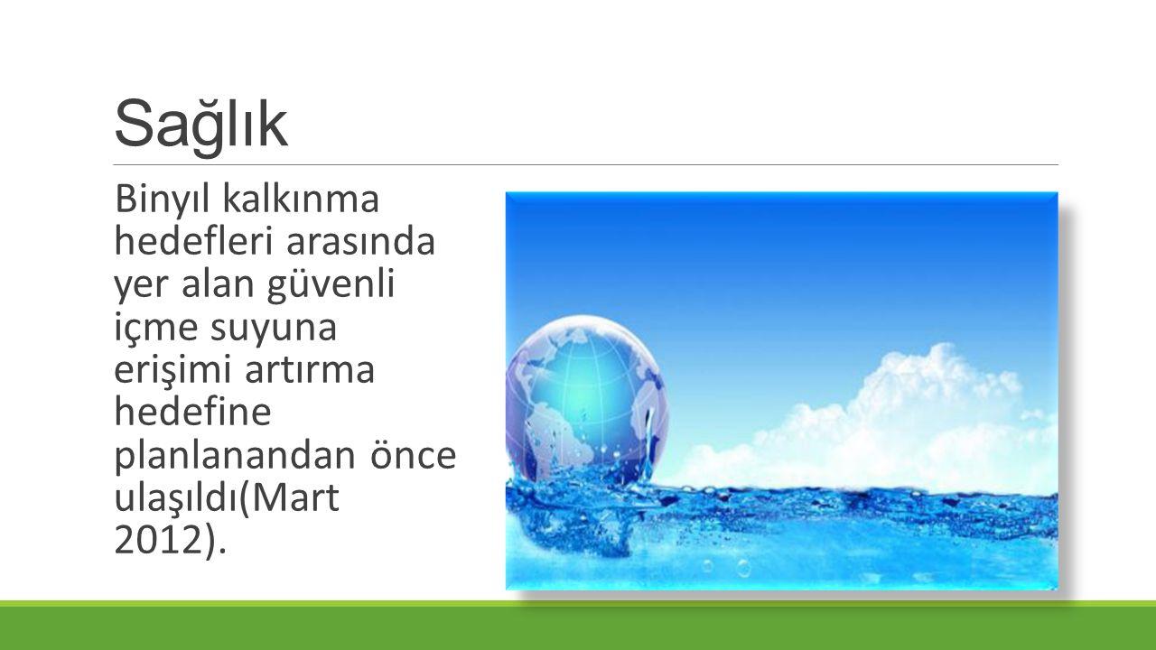 Sağlık Binyıl kalkınma hedefleri arasında yer alan güvenli içme suyuna erişimi artırma hedefine planlanandan önce ulaşıldı(Mart 2012).
