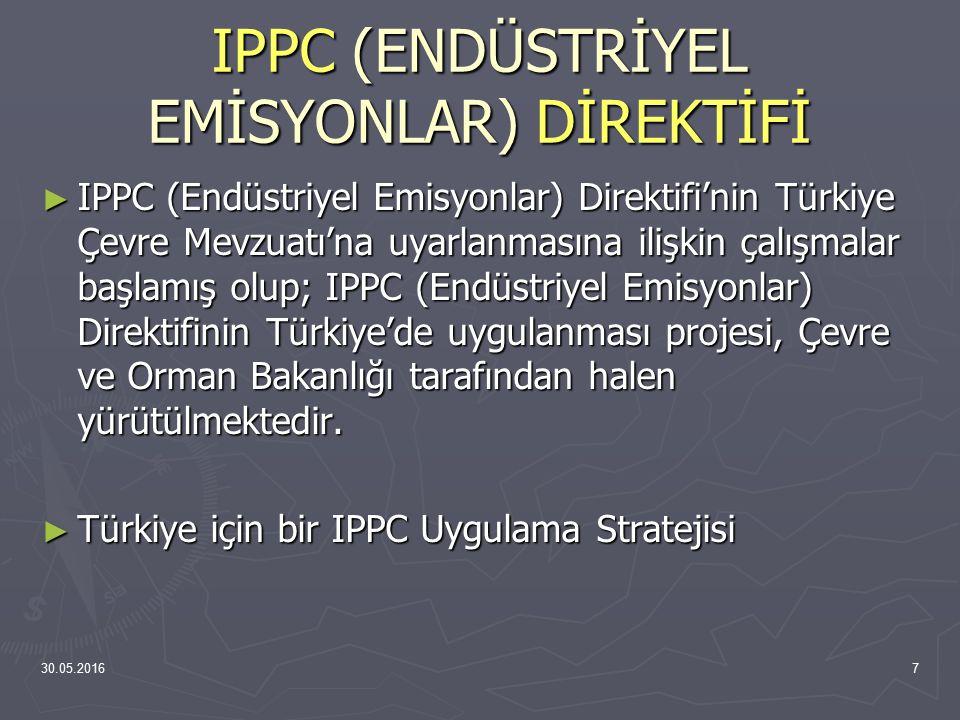 30.05.20167 IPPC (ENDÜSTRİYEL EMİSYONLAR) DİREKTİFİ ► IPPC (Endüstriyel Emisyonlar) Direktifi'nin Türkiye Çevre Mevzuatı'na uyarlanmasına ilişkin çalı