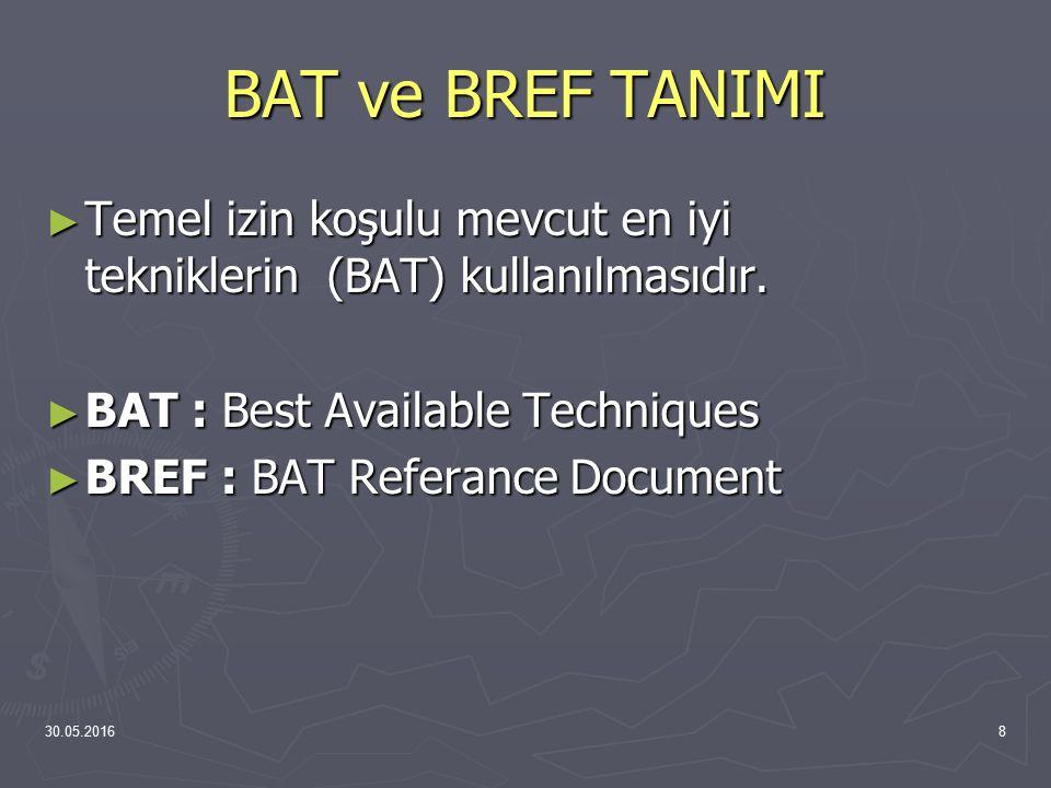 30.05.20168 BAT ve BREF TANIMI ► Temel izin koşulu mevcut en iyi tekniklerin (BAT) kullanılmasıdır. ► BAT : Best Available Techniques ► BREF : BAT Ref