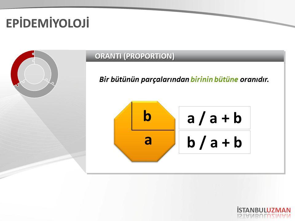 ORANTI (PROPORTION) Bir bütünün parçalarından birinin bütüne oranıdır. a b a / a + b b / a + b