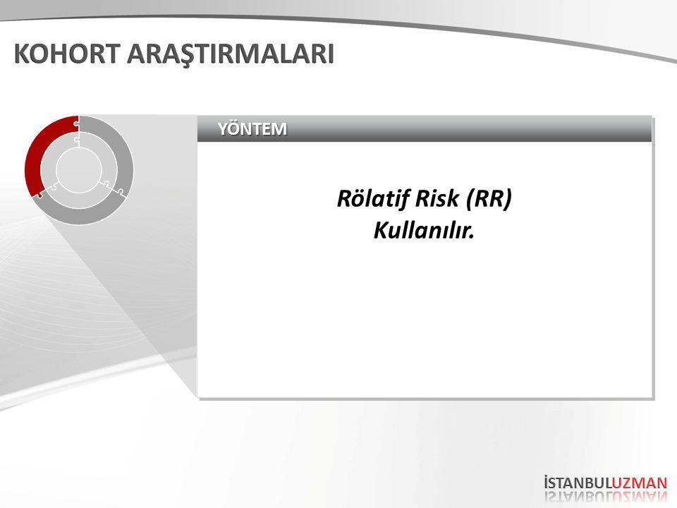 YÖNTEMYÖNTEM Rölatif Risk (RR) Kullanılır. Rölatif Risk (RR) Kullanılır.