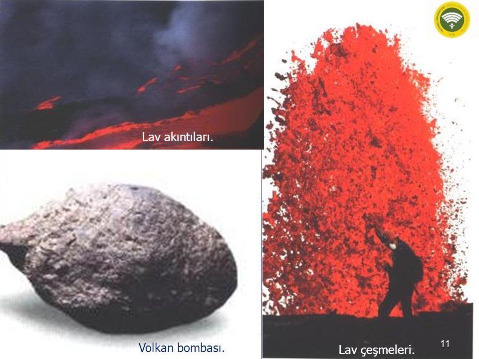Lav çeşmeleri. Lav akıntıları. Volkan bombası. 11