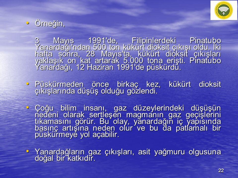 Örneğin, Örneğin, 3 Mayıs 1991'de, Filipinlerdeki Pinatubo Yanardağı'ndan 500 ton kükürt dioksit çıkışı oldu. İki hafta sonra, 28 Mayıs'ta, kükürt dio