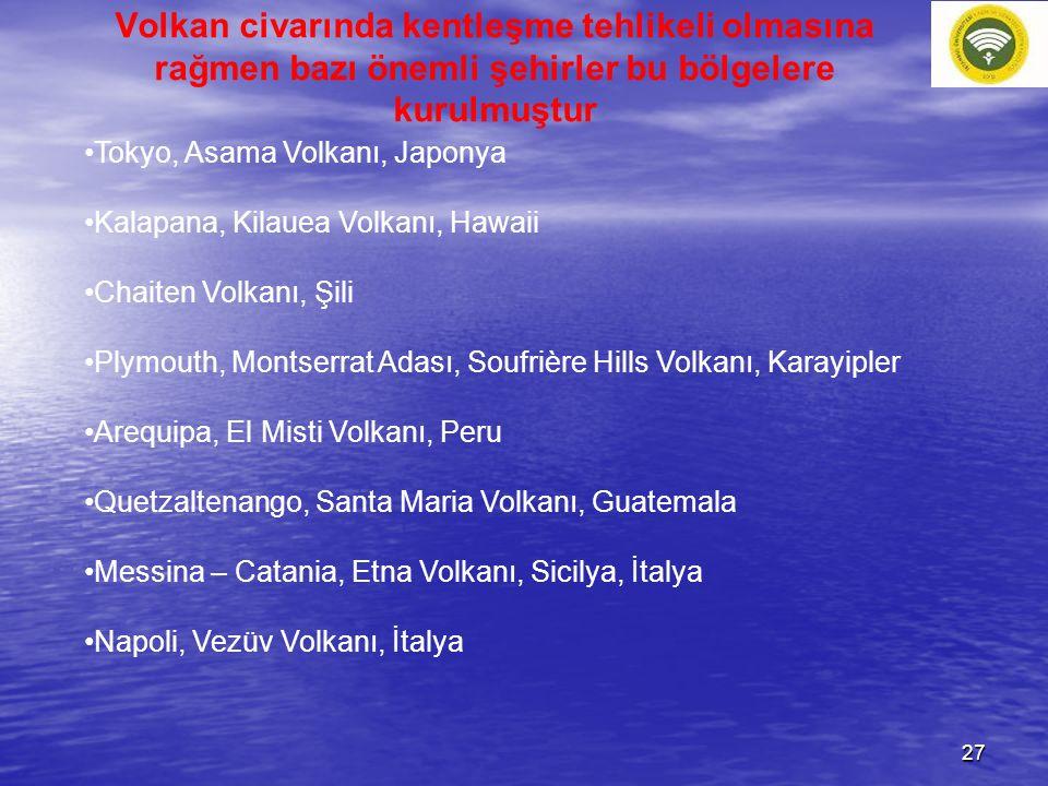 Volkan civarında kentleşme tehlikeli olmasına rağmen bazı önemli şehirler bu bölgelere kurulmuştur Tokyo, Asama Volkanı, Japonya Kalapana, Kilauea Vol