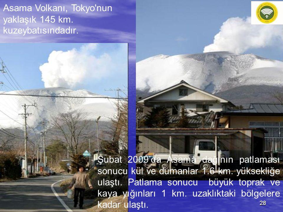 Asama Volkanı, Tokyo'nun yaklaşık 145 km. kuzeybatısındadır. Şubat 2009'da Asama dağının patlaması sonucu kül ve dumanlar 1.6 km. yüksekliğe ulaştı. P