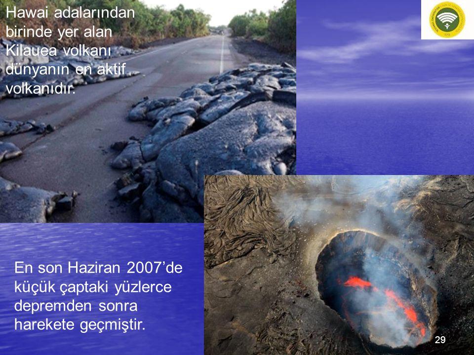 Hawai adalarından birinde yer alan Kilauea volkanı dünyanın en aktif volkanıdır. En son Haziran 2007'de küçük çaptaki yüzlerce depremden sonra hareket