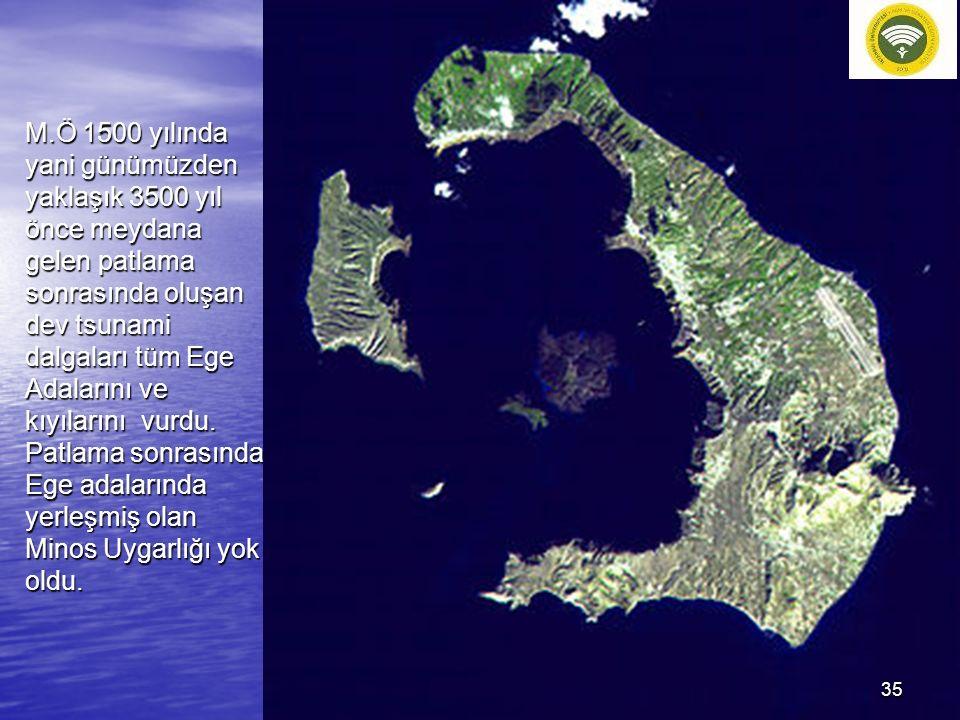 M.Ö 1500 yılında yani günümüzden yaklaşık 3500 yıl önce meydana gelen patlama sonrasında oluşan dev tsunami dalgaları tüm Ege Adalarını ve kıyılarını