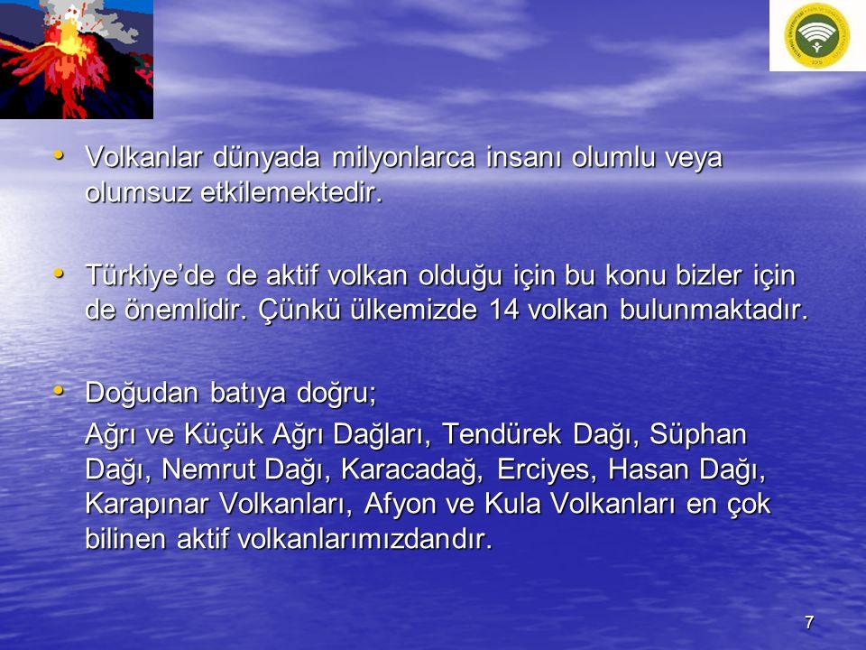 Volkanlar dünyada milyonlarca insanı olumlu veya olumsuz etkilemektedir. Volkanlar dünyada milyonlarca insanı olumlu veya olumsuz etkilemektedir. Türk
