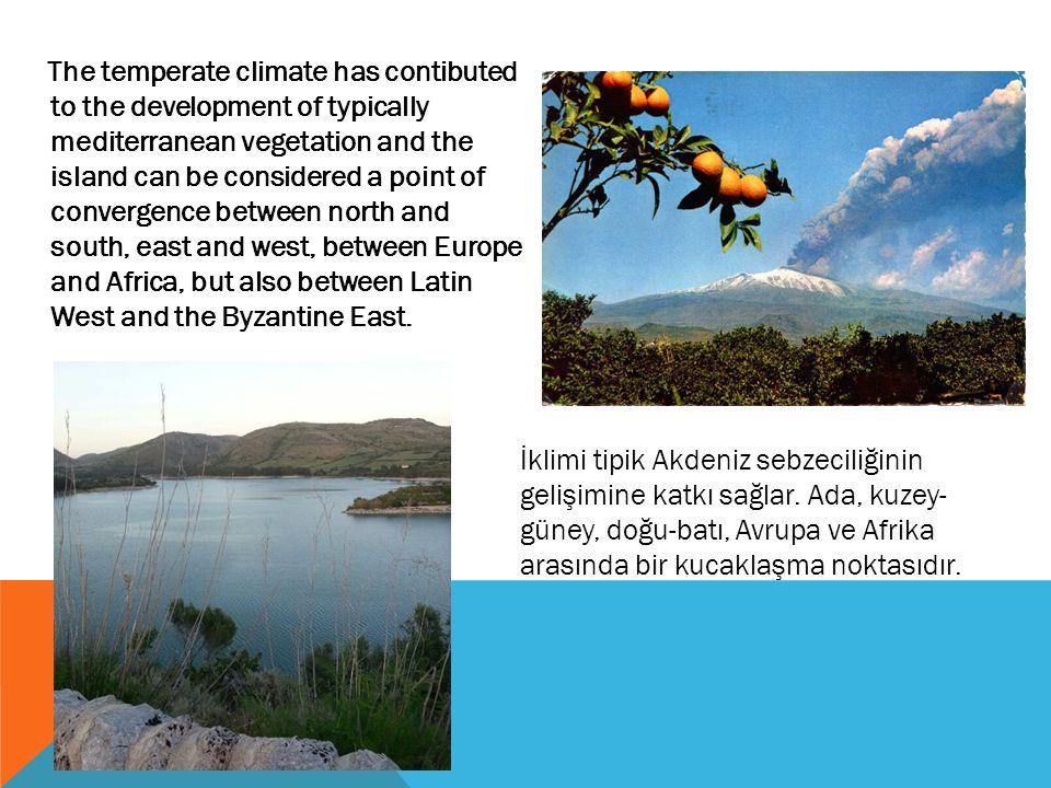 The temperate climate has contibuted to the development of typically mediterranean vegetation and the island can be considered a point of convergence between north and south, east and west, between Europe and Africa, but also between Latin West and the Byzantine East.